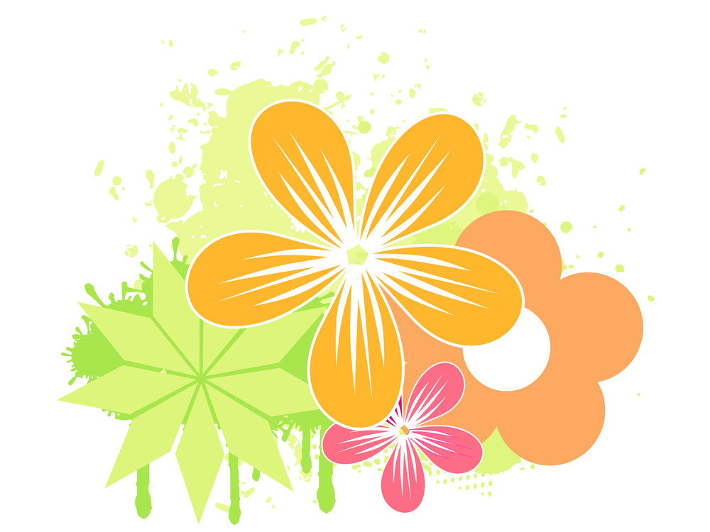 Vector Illustration Of Flower With Grunge