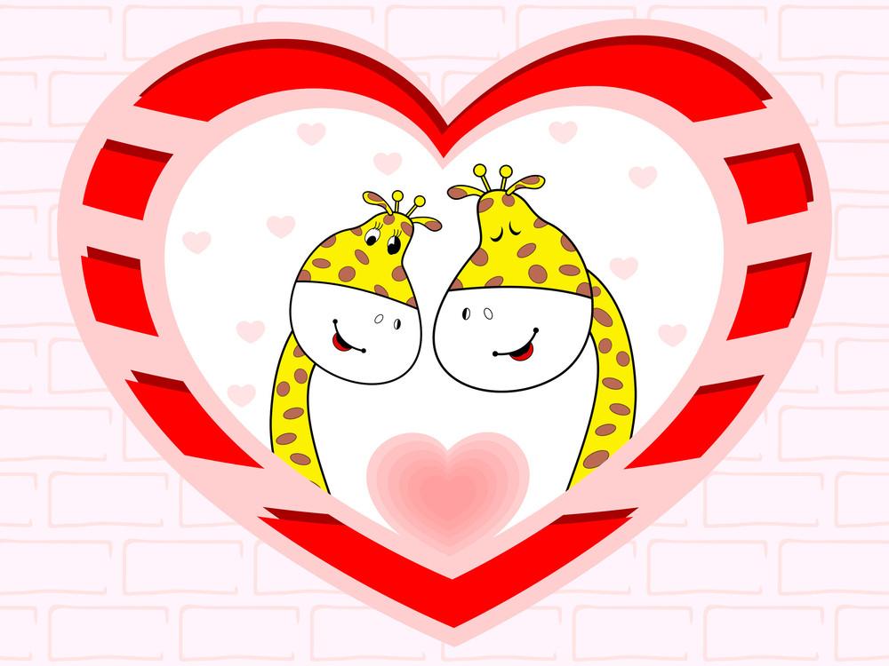 Vector Illustration Of Giraffe Couple In Love On Heart Shape Background.