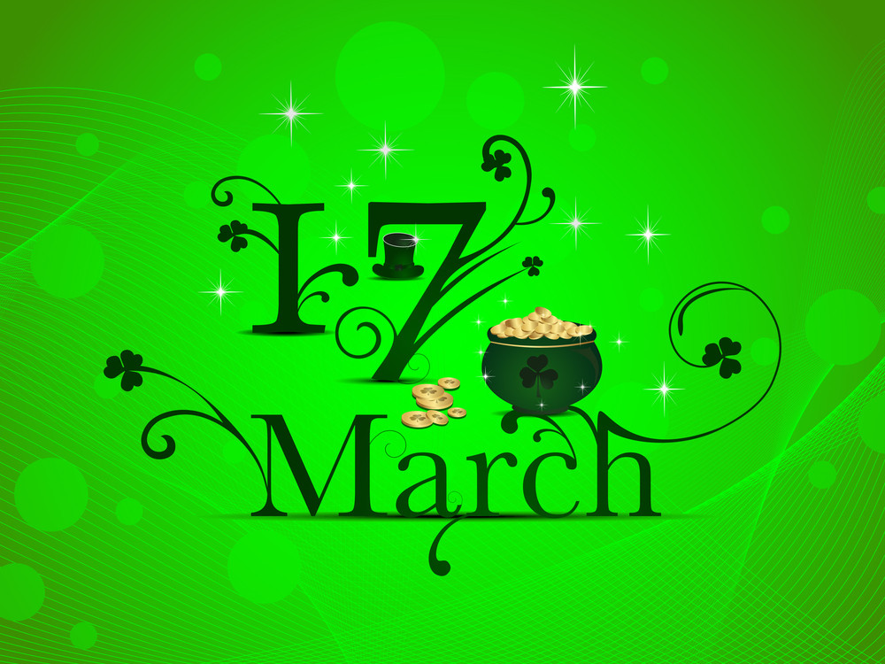 Vector Illustration Of Greeting Card With Text 17 March On St. Patrick's Day.