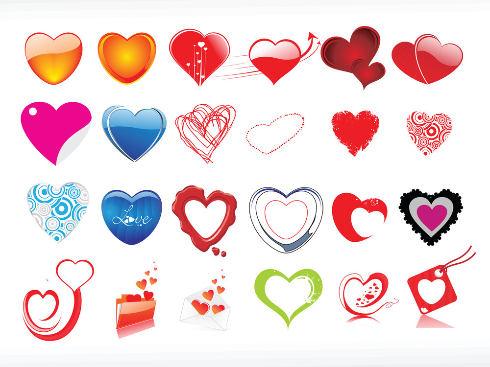 Vector Illustration Of Heart Icon Set1