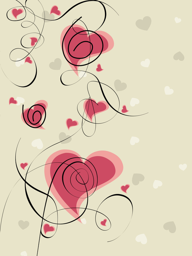 Vector Illustration Of Heart Shapes In Pink Color On Seamless Background.