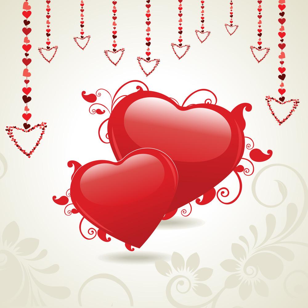 Vector Illustration Of Heart Shapes On Floral Background.