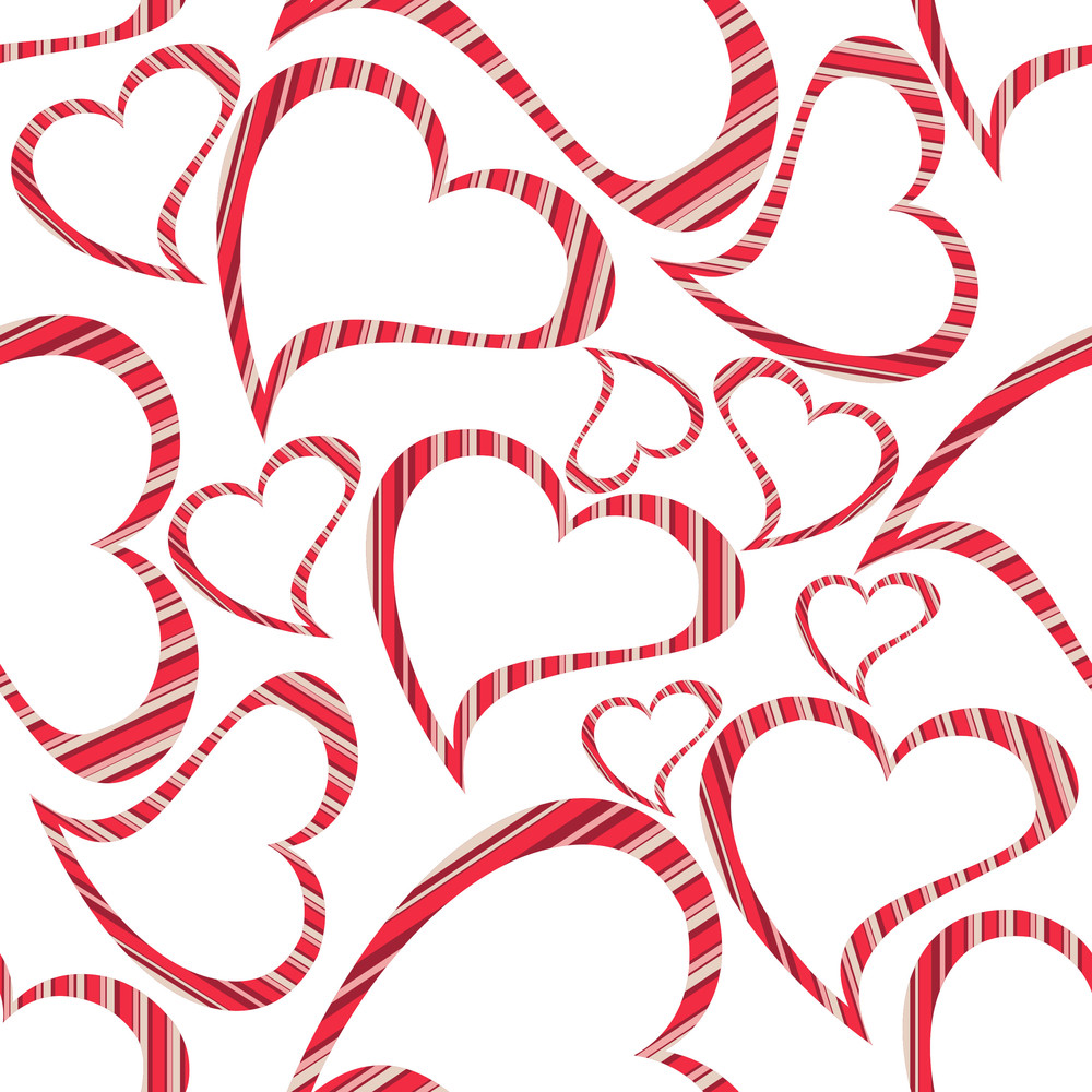 Vector Illustration Of Heart Shapes On Seamless White Background.