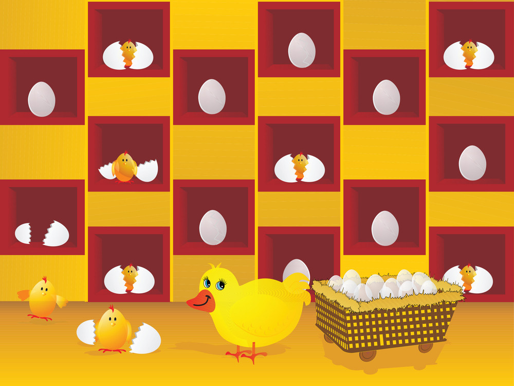 Vector Illustration Of Hen With Eggs And New Born Chick