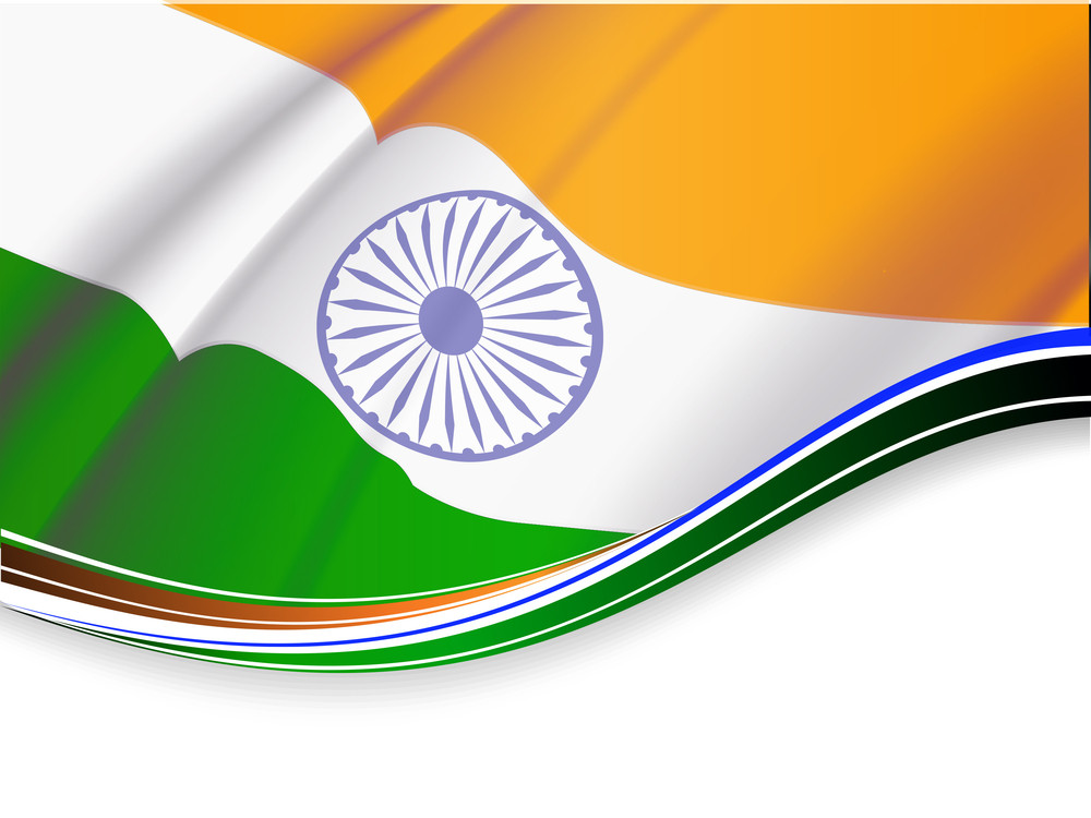 Vector Illustration Of Indian Tricolor Flag  On White Isolated Background For Republic Day And Independence Day. Vector Illustration Eps10.