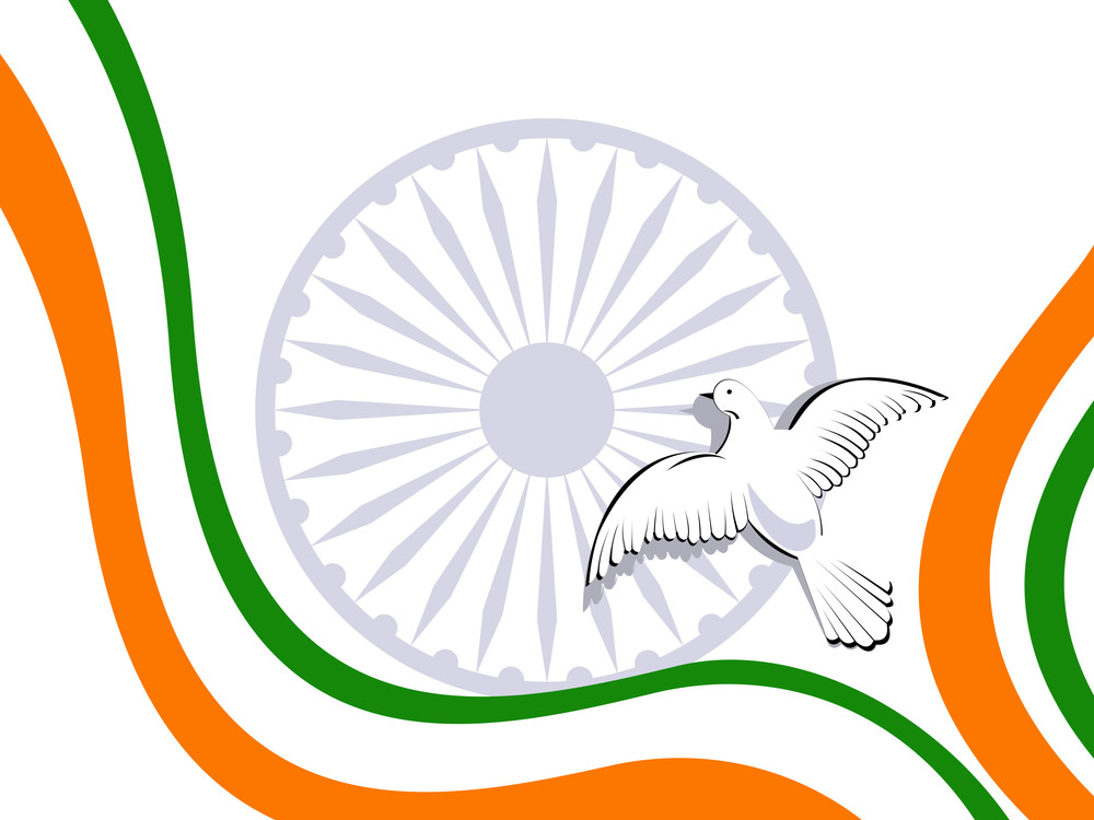 Vector Illustration Of Indian Tricolor Flag With Flying Pigeons On White Isolatated Background.