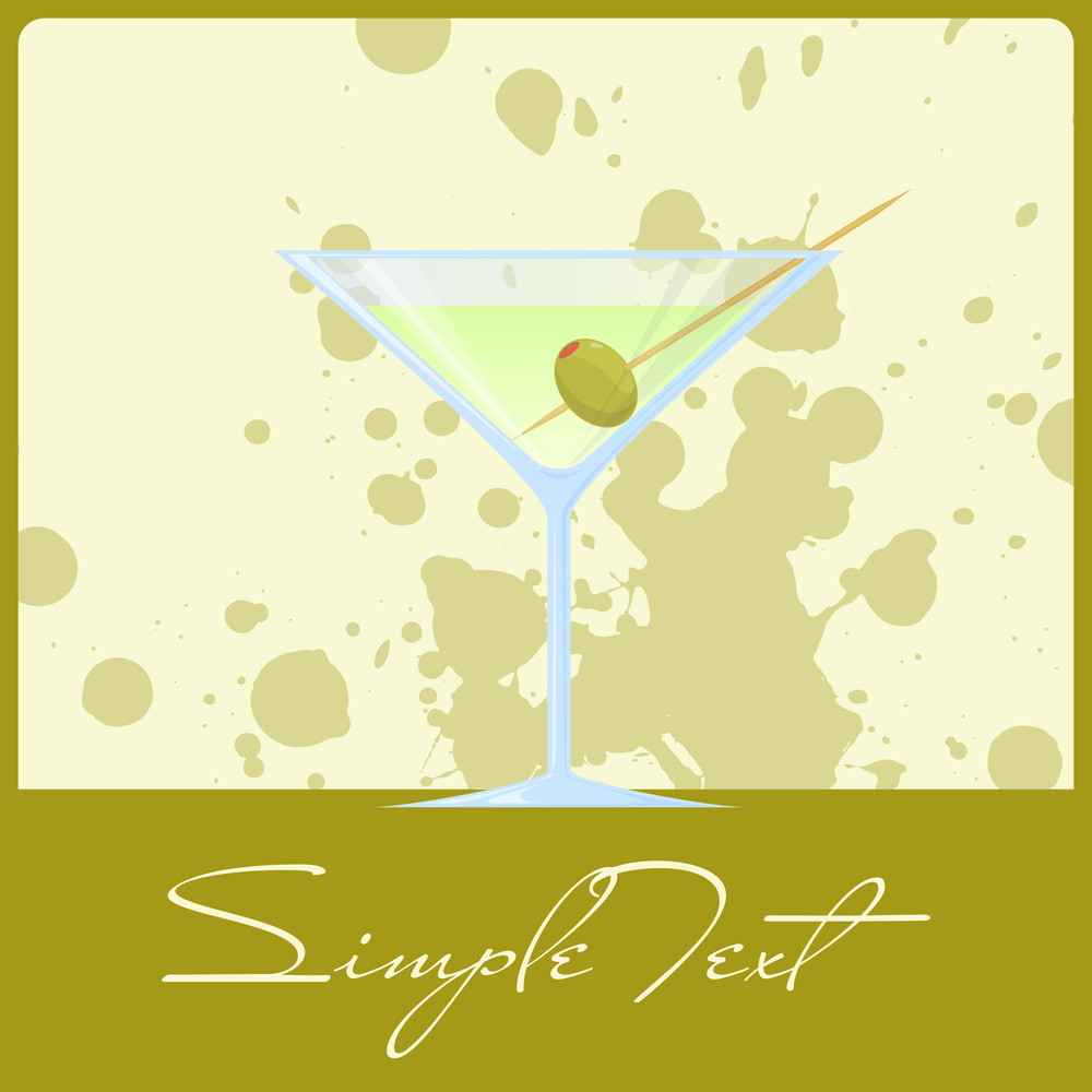 Vector Illustration Of Martini On A Dirty Background. Eps10