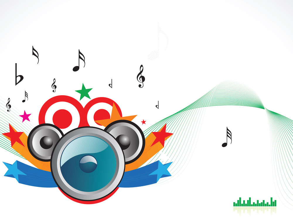 Vector Illustration Of Music Theme With Speackers