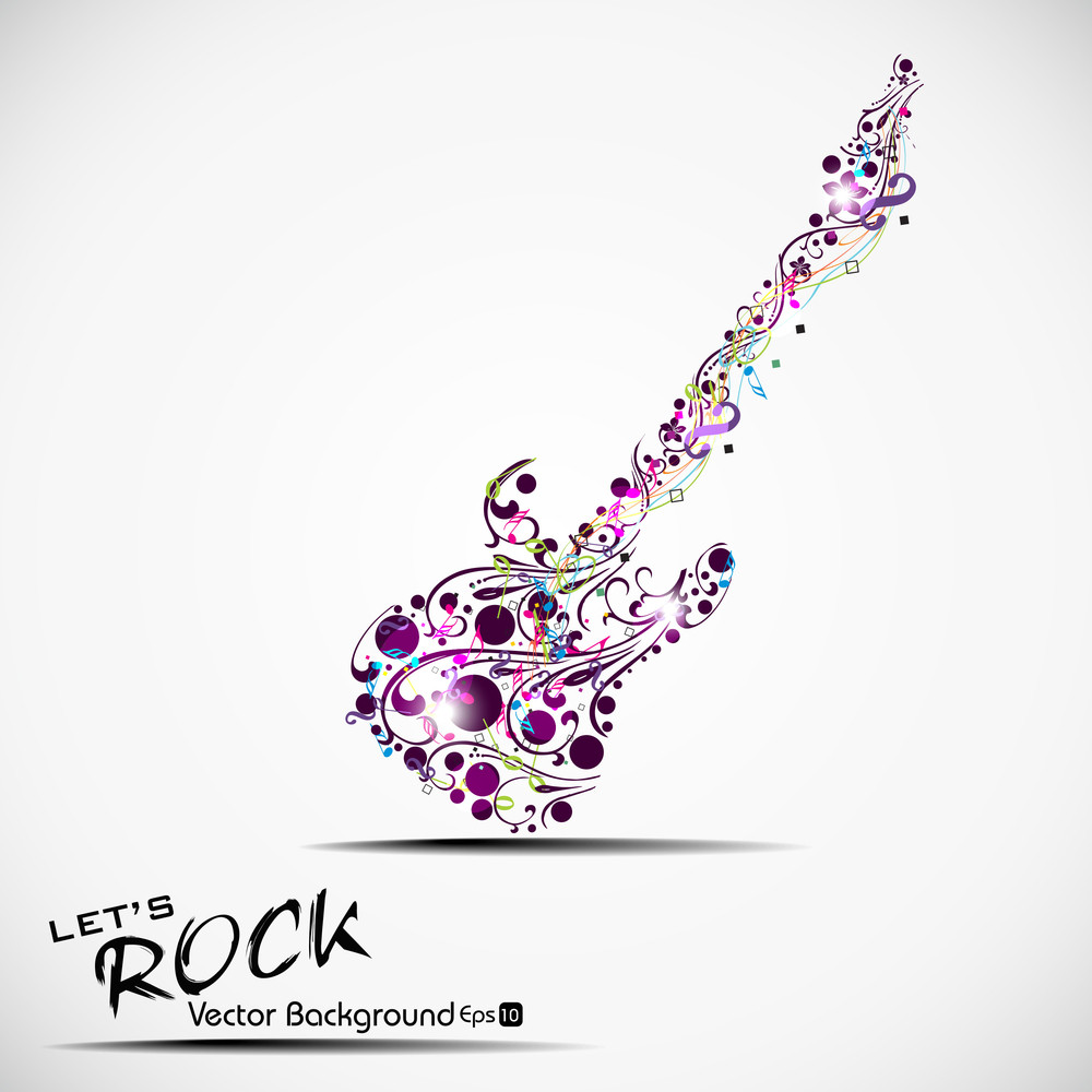 Vector Illustration Of Musical  Guitar With Musical Node And Floral. View Our Portfolio For More Designs.