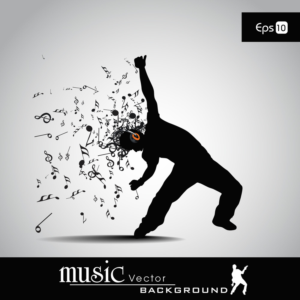 Vector Illustration Of Musical Man And Musical Node With Burst Effect.