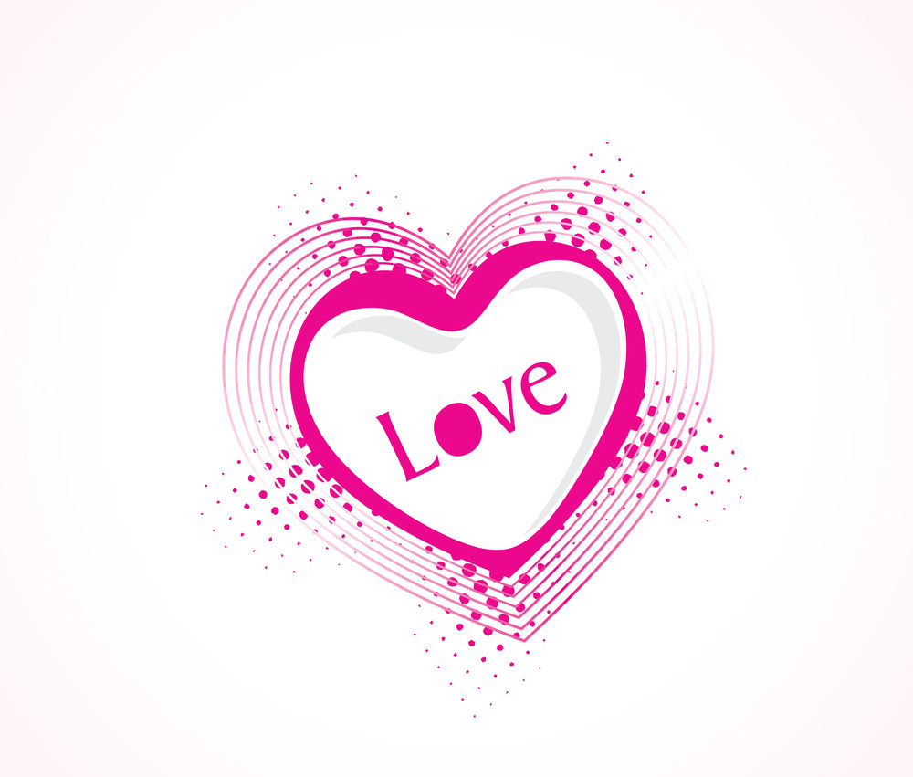 Vector Illustration Of Pink Heart On White Background