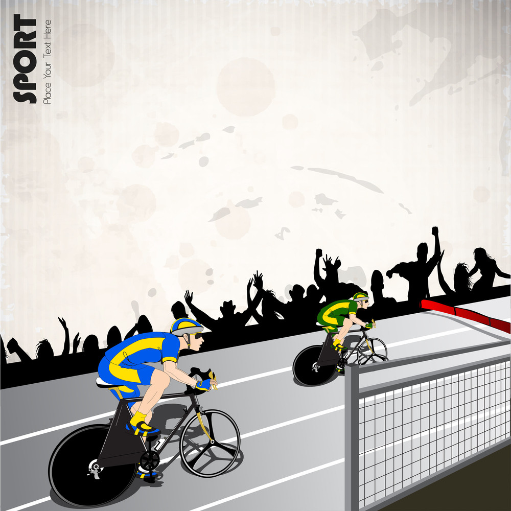 Vector Illustration Of Race Cyclist Performing Fast Cycling In Race Track.