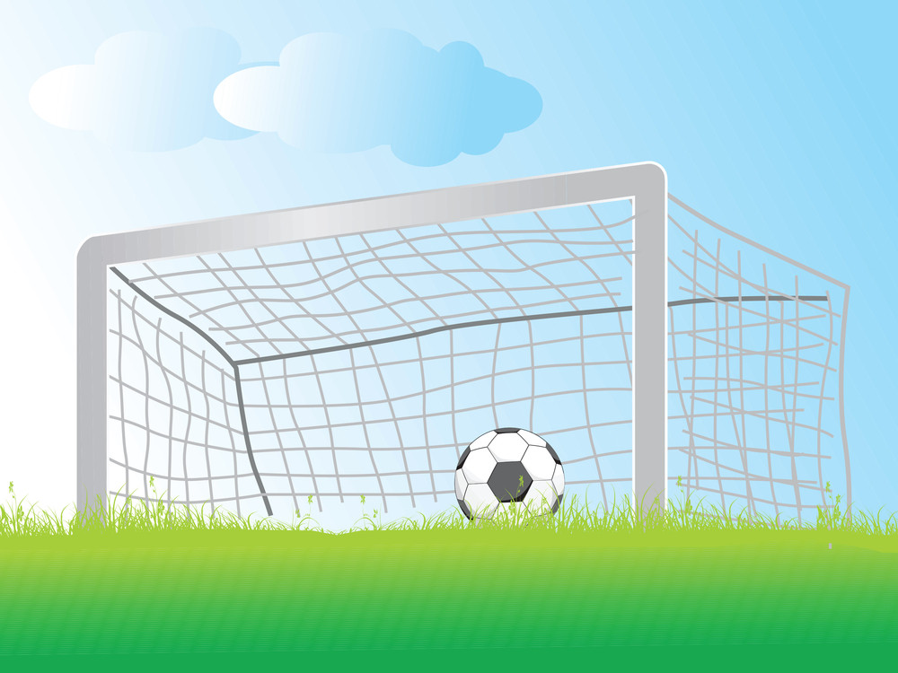 Vector Illustration Of Soccer Ball Laying In The Goal