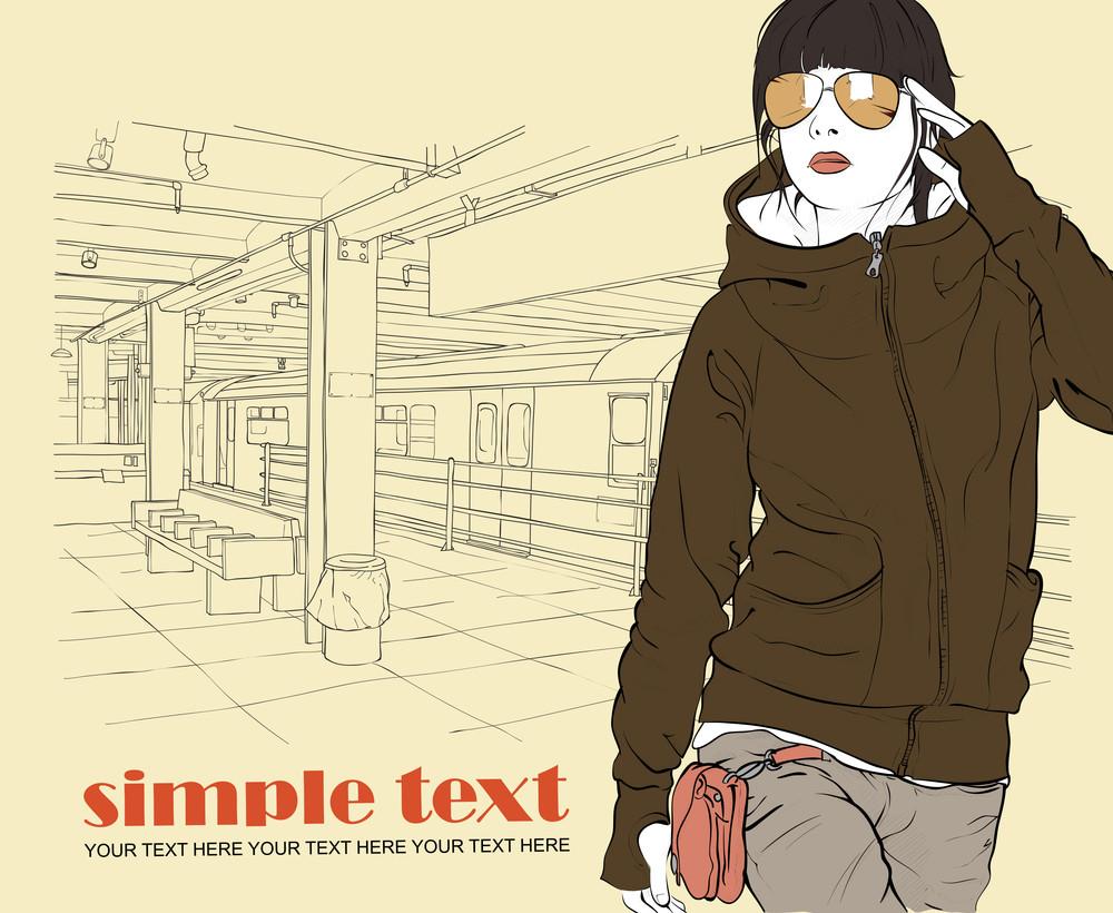 Vector Illustration Of Stylish Girl At Subway Station .