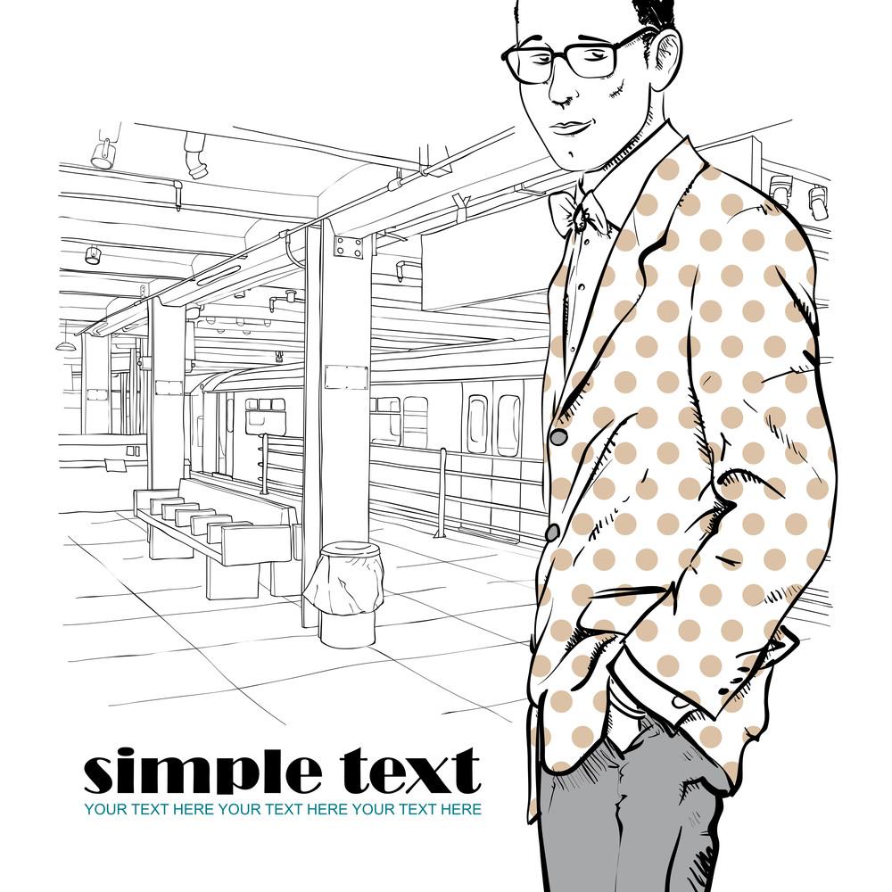 Vector Illustration Of Stylish Guy At Subway Station.