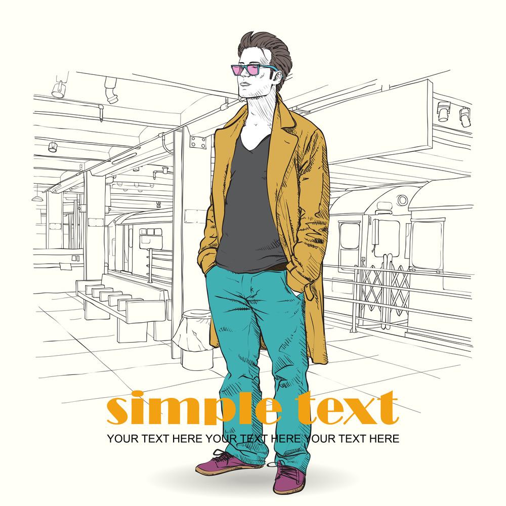Vector Illustration Of Stylish Guy At Subway Station .