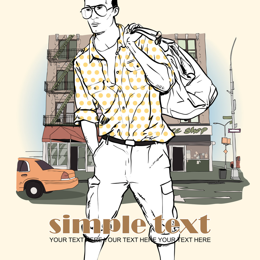 Vector Illustration Of  Stylish Guy On A Street- Background.
