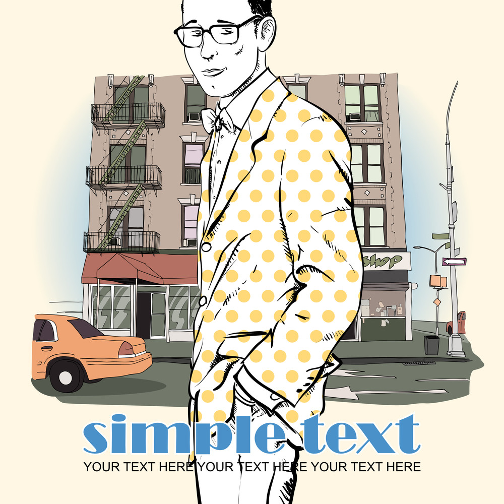Vector Illustration Of  Stylish Guy On A Street- Background.