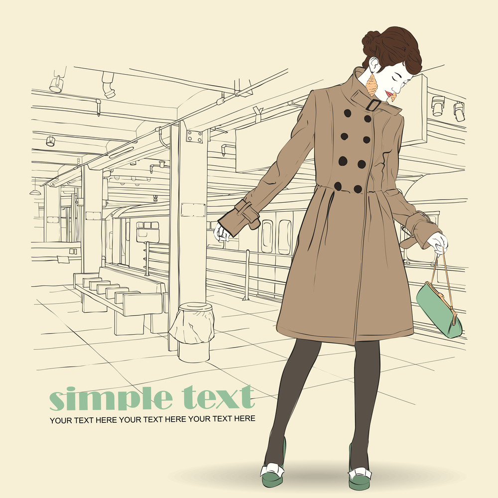 Vector Illustration Of The Autumnal Girl At  Subway Station .