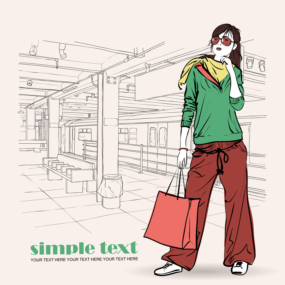 Vector Illustration Of The Fashion Girl At  Subway Station .