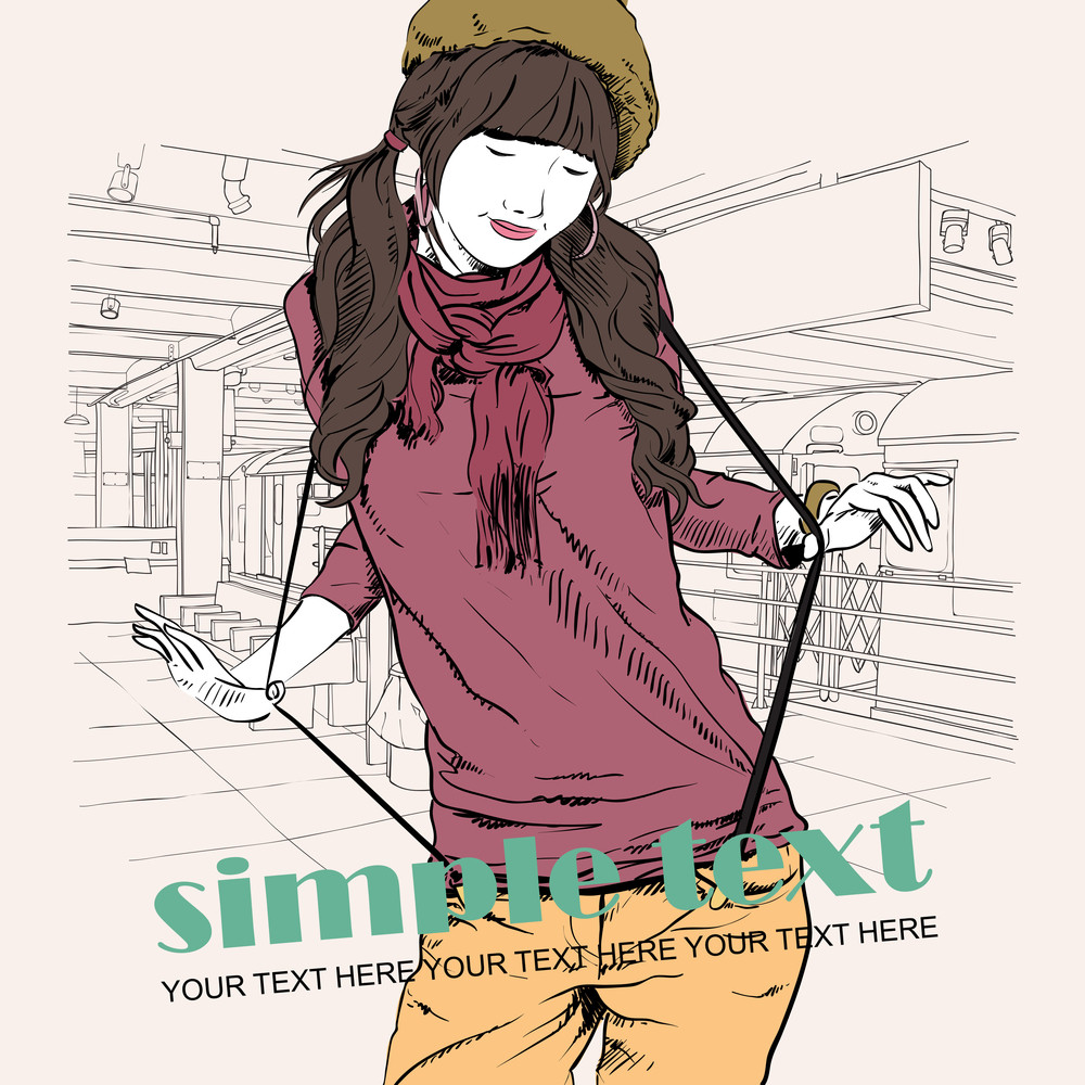 Vector Illustration Of The Pretty Girl At  Subway Station .