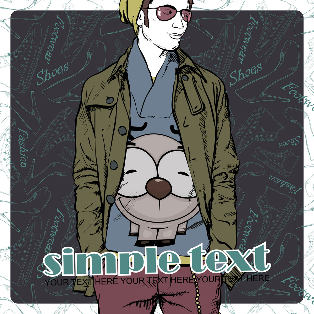 Vector Illustration Of The Stylish Dude On A Footwear-background.
