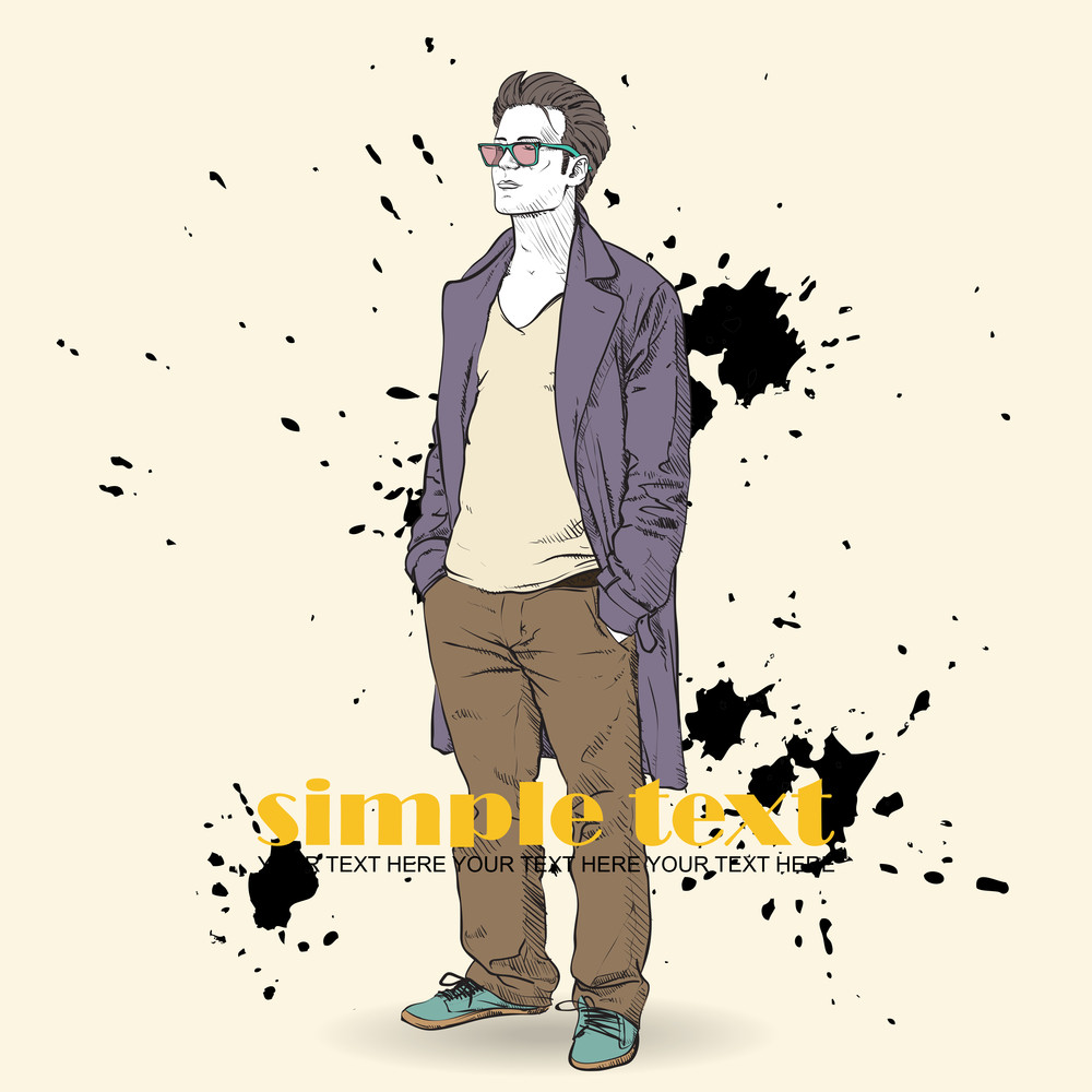 Vector Illustration Of The Stylish Guy In A Coat On A Dirty Background.