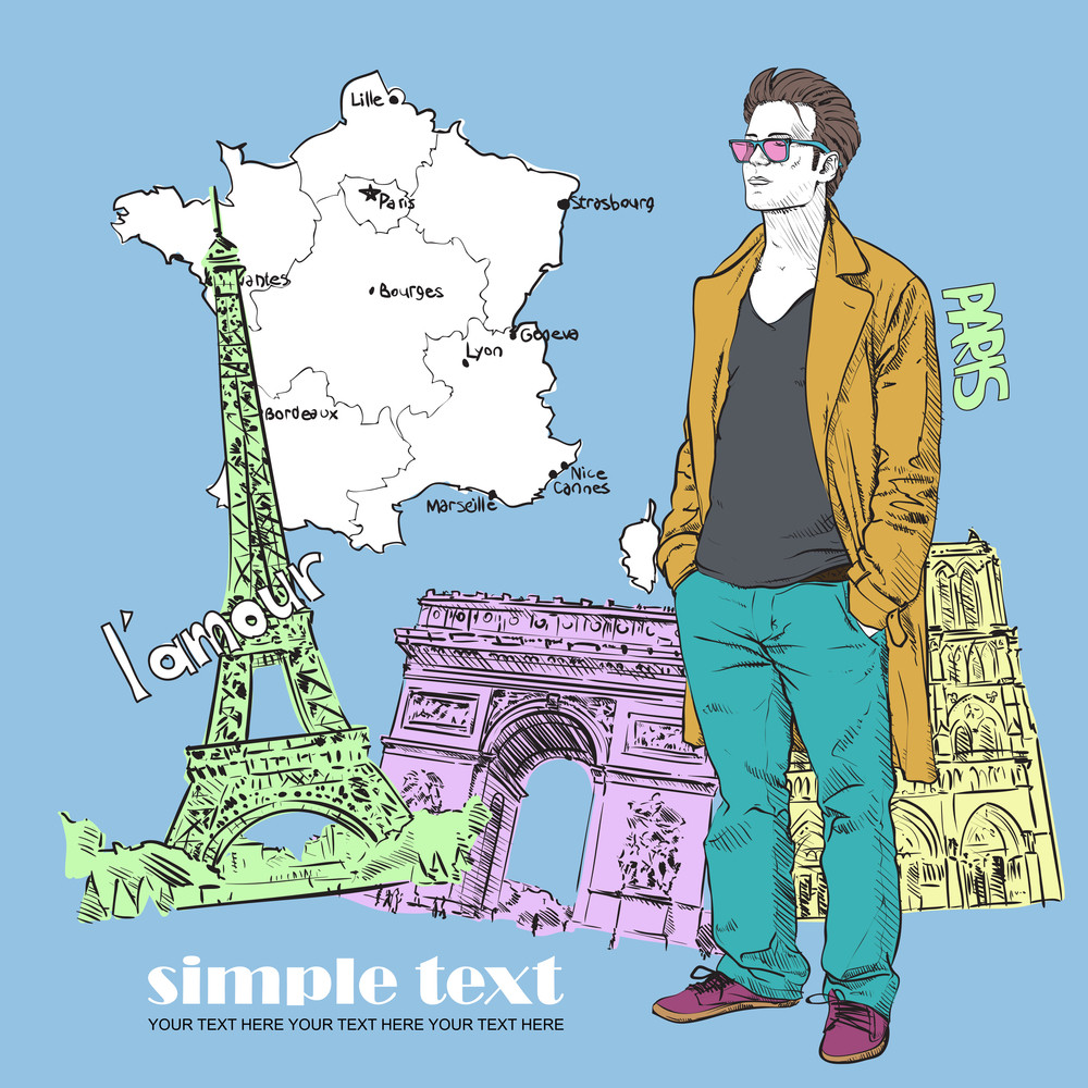 Vector Illustration Of The Stylish Guy In A Coat On A French Background.