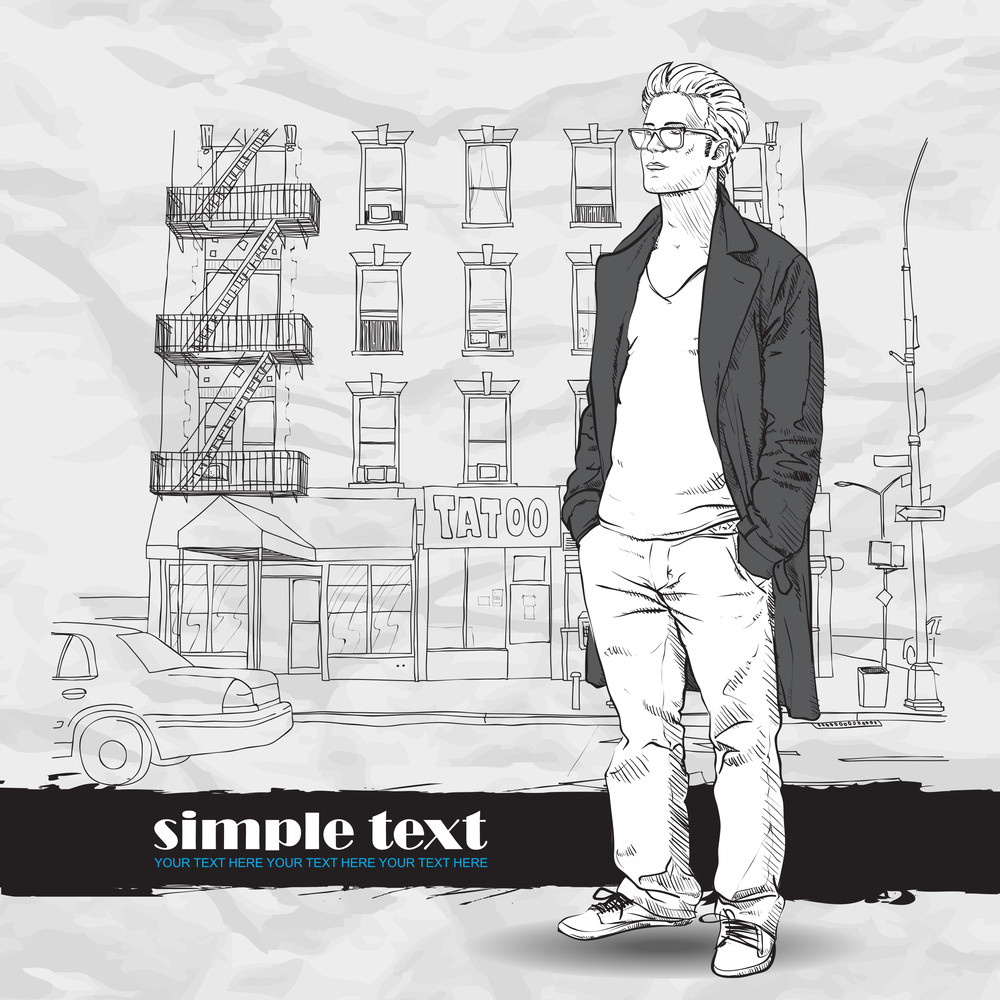 Vector Illustration Of The Stylish Guy In A Coat On A Street- Background.