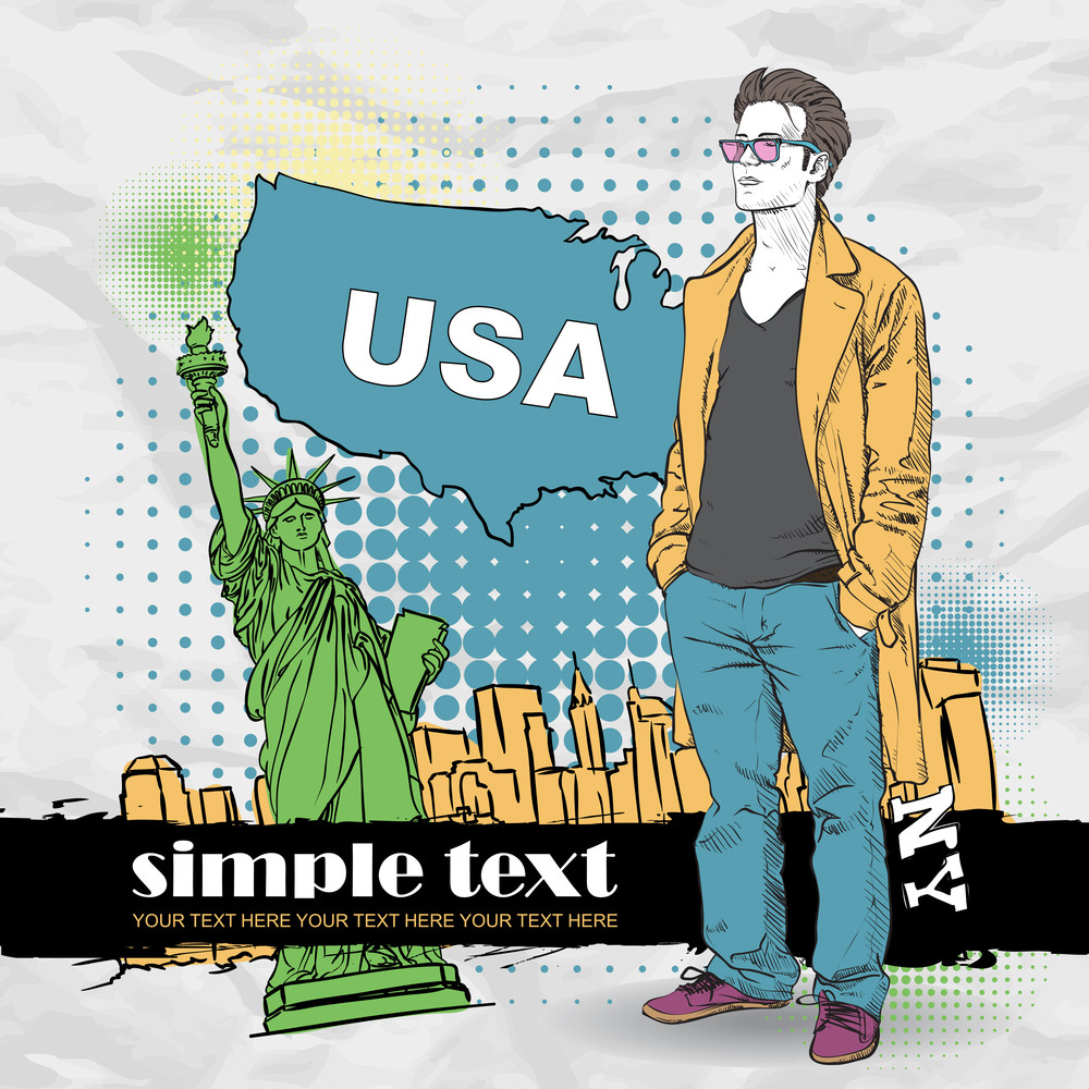 Vector Illustration Of The Stylish Guy In A Coat On A Usa-background.
