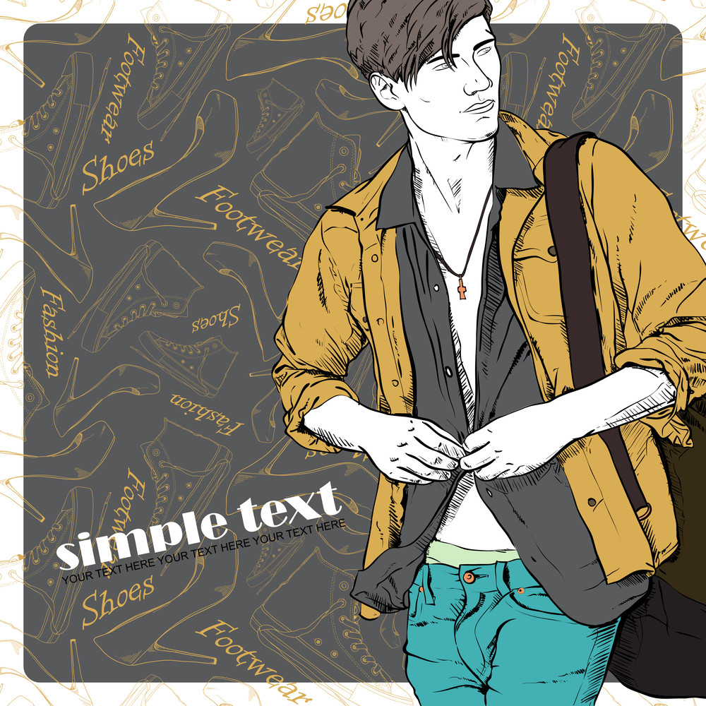 Vector Illustration Of The Stylish Guy On A Footwear-background.