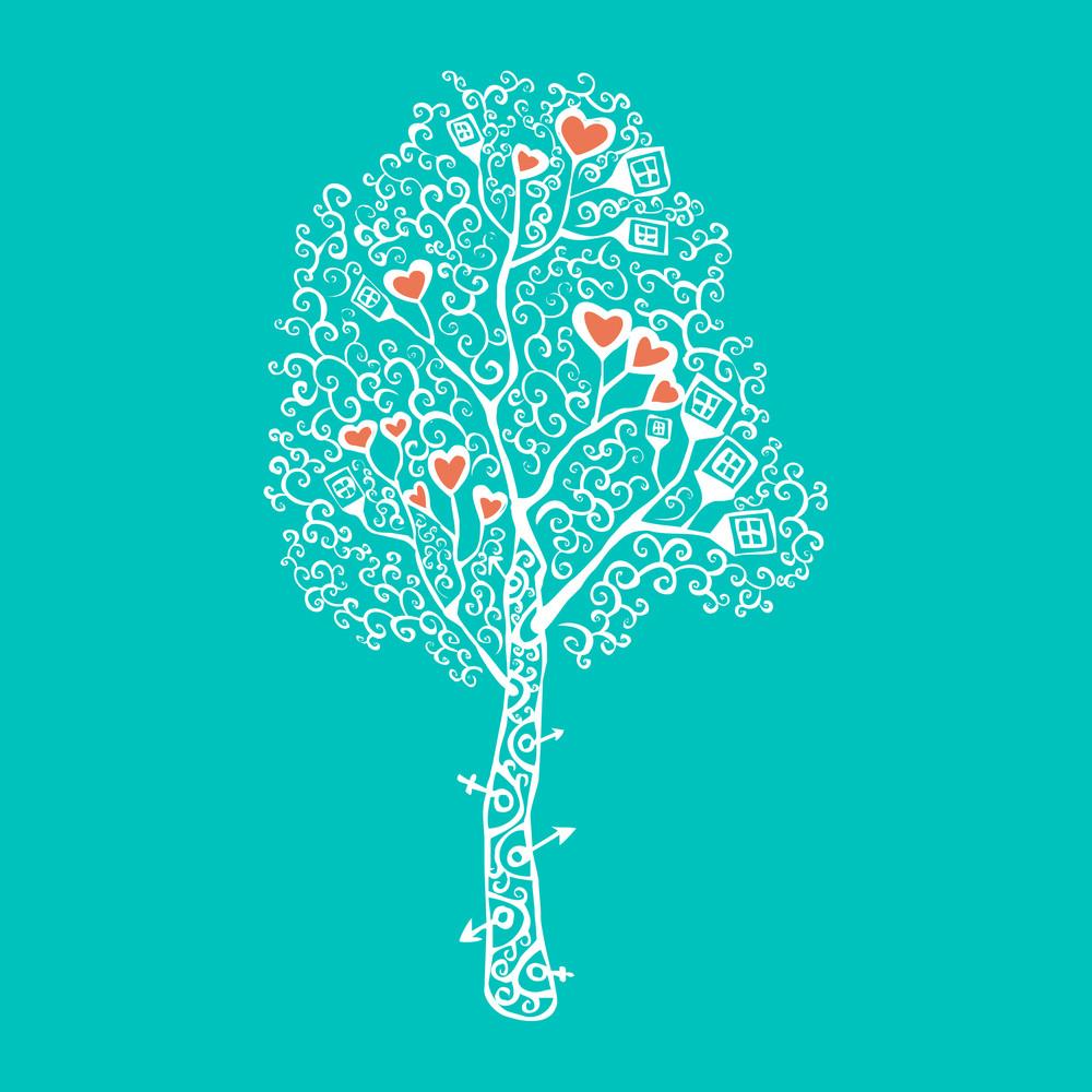 Vector Illustration Of Tree.