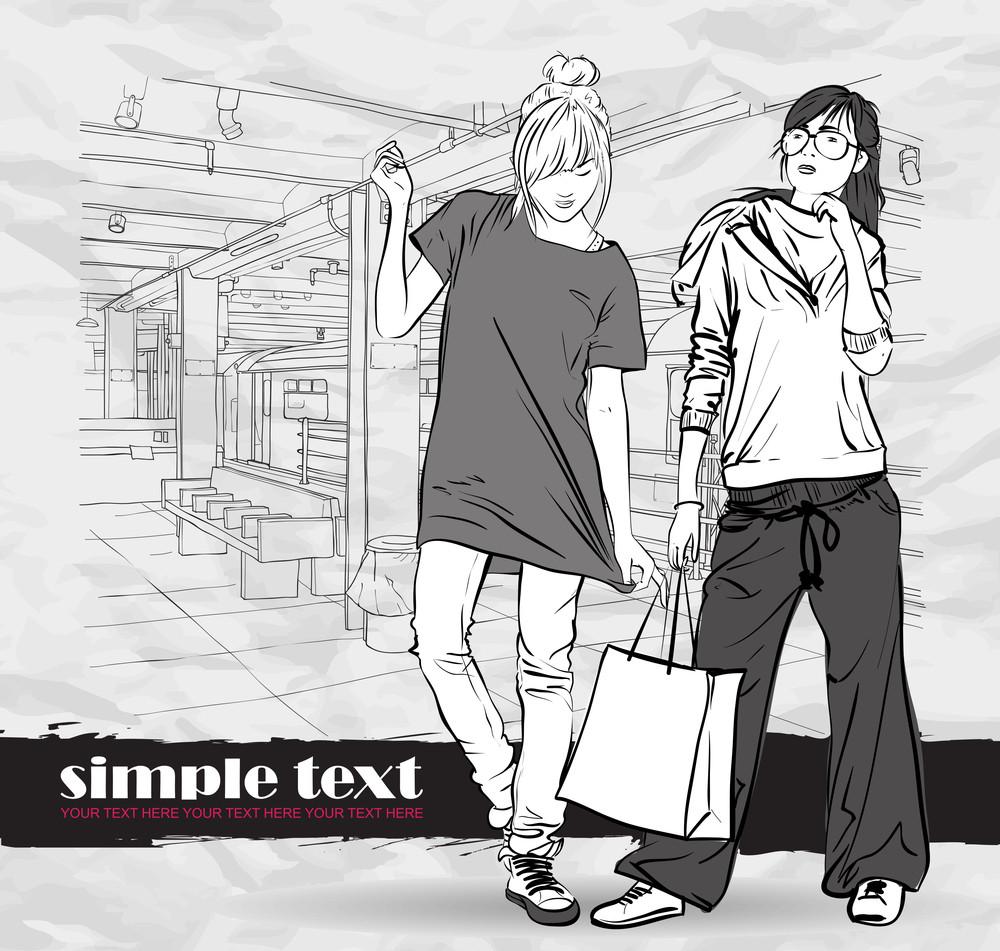 Vector Illustration Of Two Fashion Girls At Subway Station .