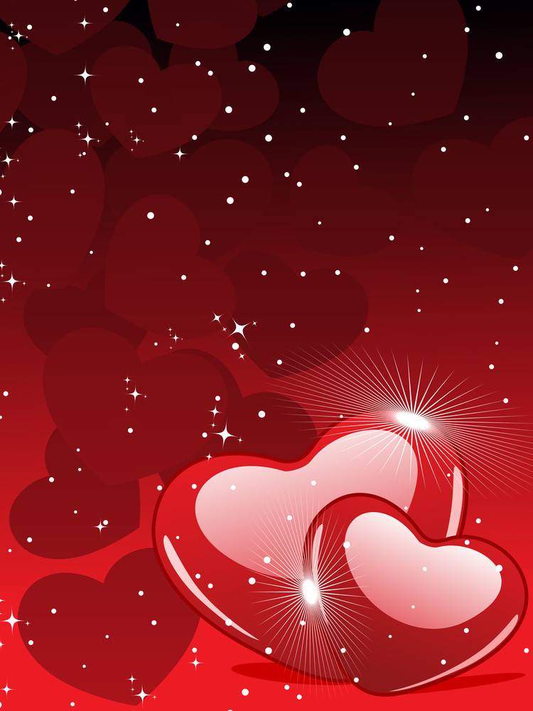 Vector Illustration Of Two Heart Shapes On Red Color Background For Valentines Day.