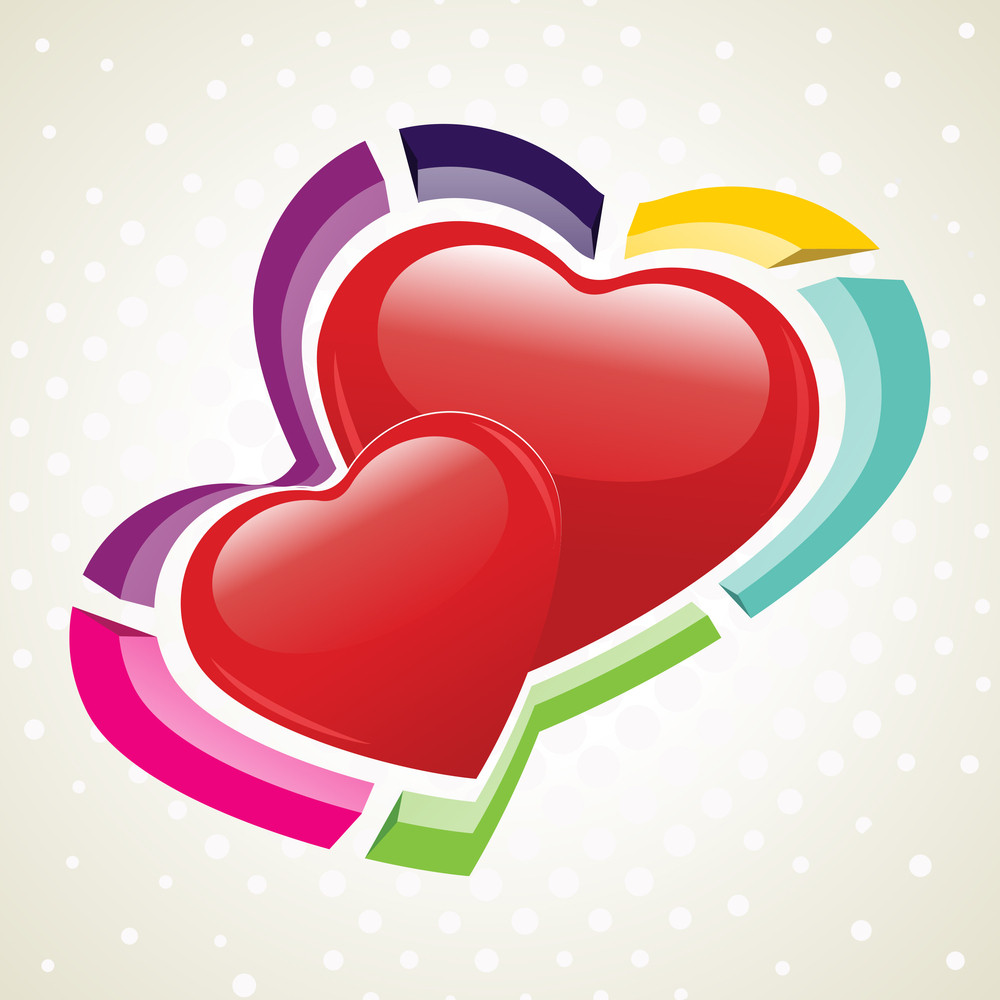 Vector Illustration Of Two Heart Shapes On Seamless Dotted Background.