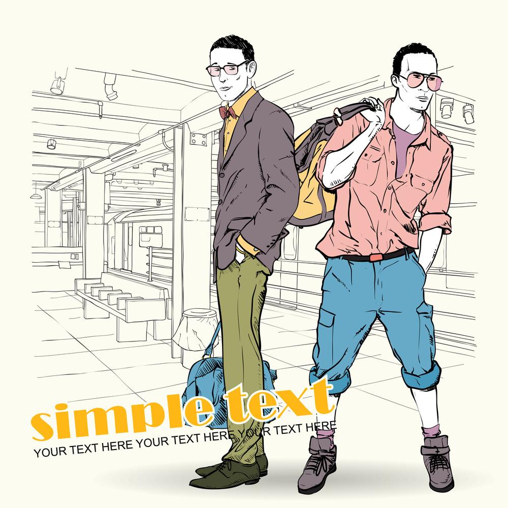 Vector Illustration Of Two Stylish Guys At Subway Station.