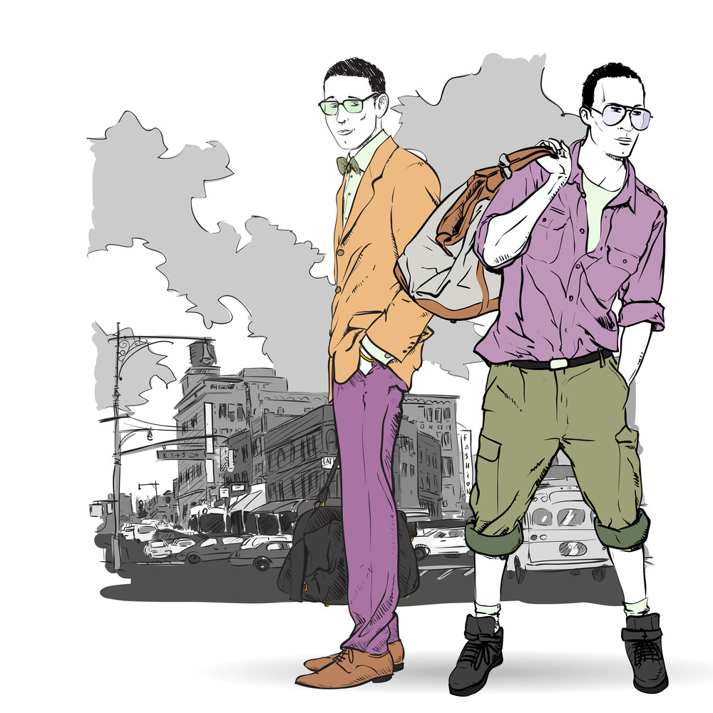 Vector Illustration Of Two Stylish Guys On A Street- Background.