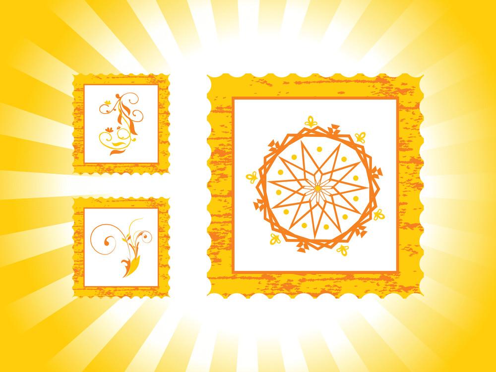 Vector Illustration Post Stamps