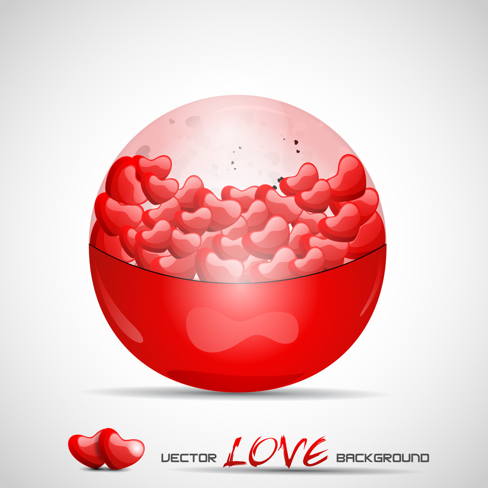 Vector Illustration Red Cristal Bal Filled With Hearts.
