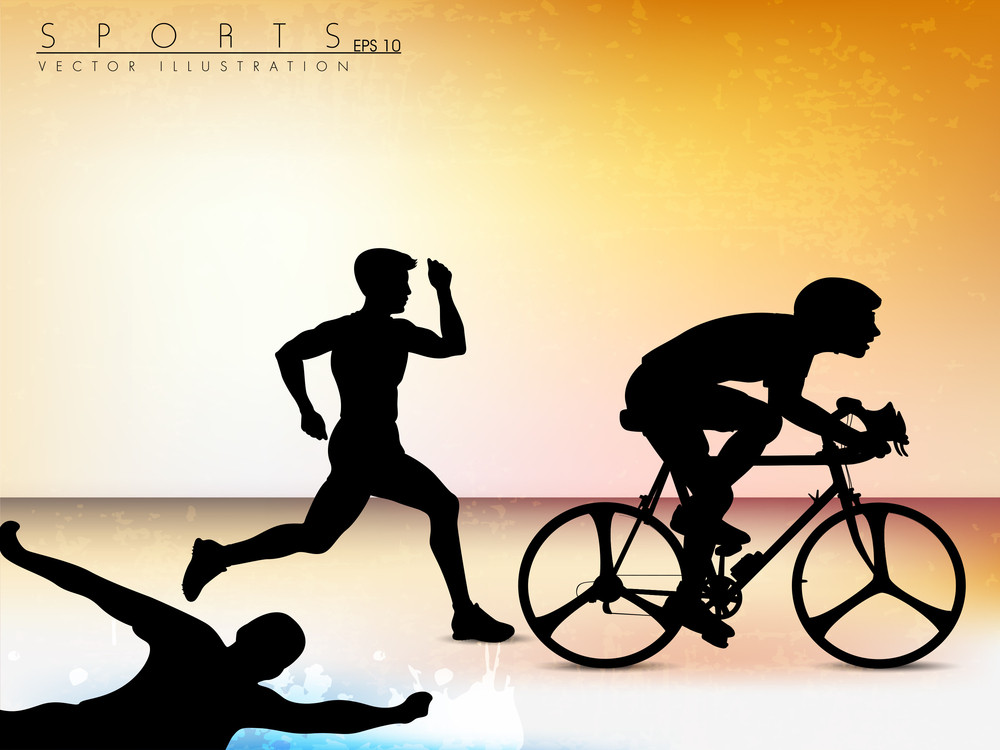 Vector Illustration Showing The Progression Of Olympic Triathlon Showing An Athlete Starting
