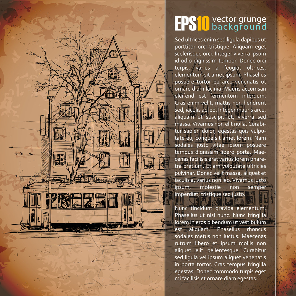 Vector Illustration With Buildings And Old Tram.