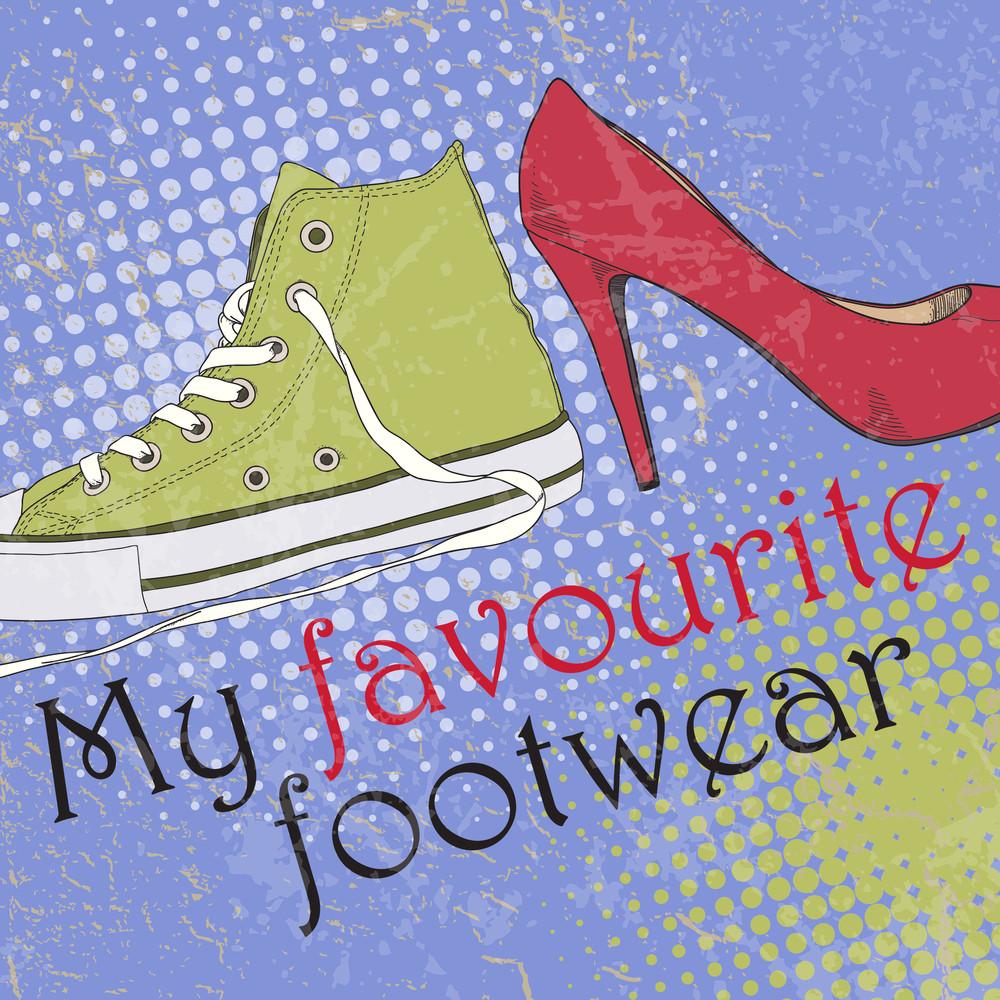 Vector Illustration With Cartoon Footwear.