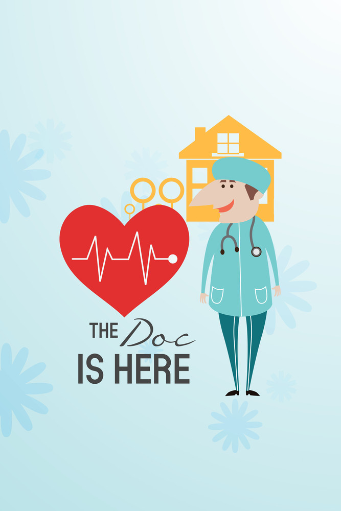 Vector Illustration With Doctor And People (editable Text)
