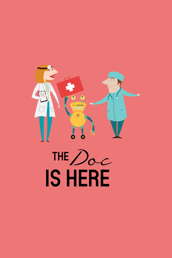 Vector Illustration With Doctors And People (editable Text)