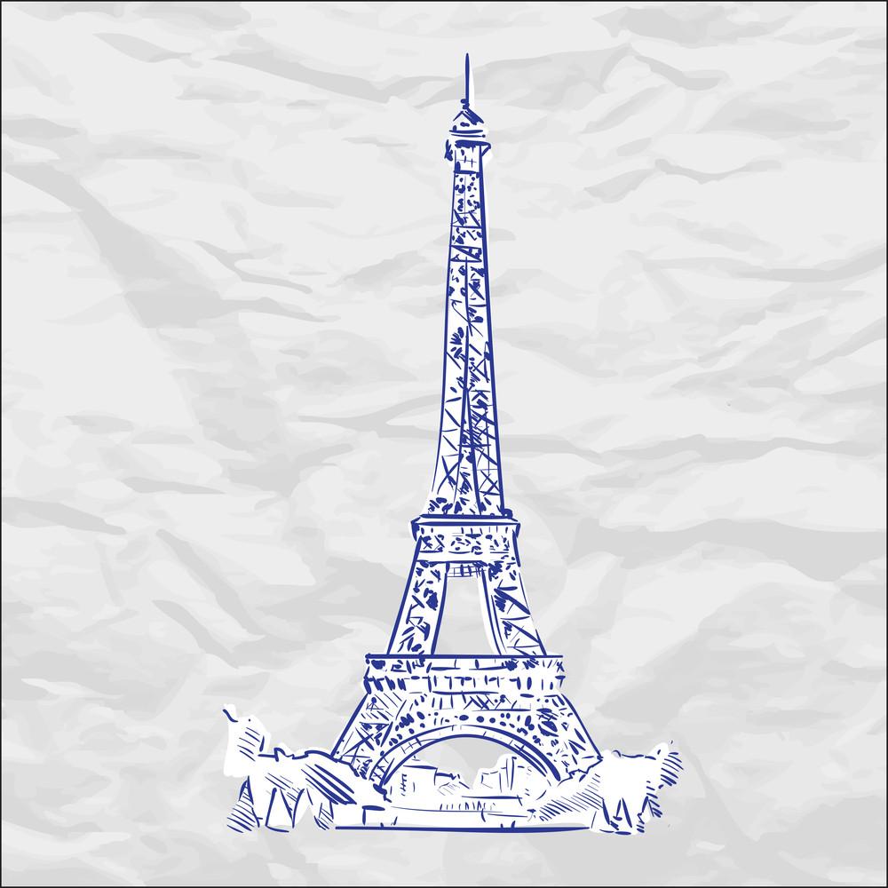 Vector Illustration With Eifel Tower.
