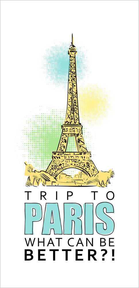 Vector Illustration With Eiffel Tower And Text.