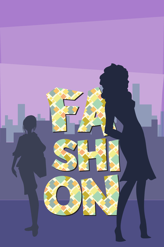 Vector Illustration With Fashion And People (editable Text)