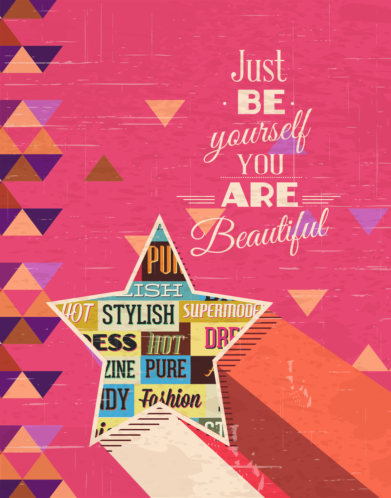 Vector Illustration  With Fashion Elements And Star (editable Text)