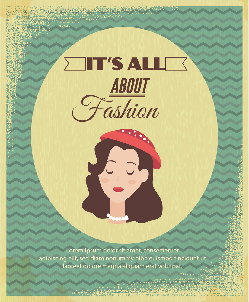 Vector Illustration  With Fashion Typography And Woman Head (editable Text)