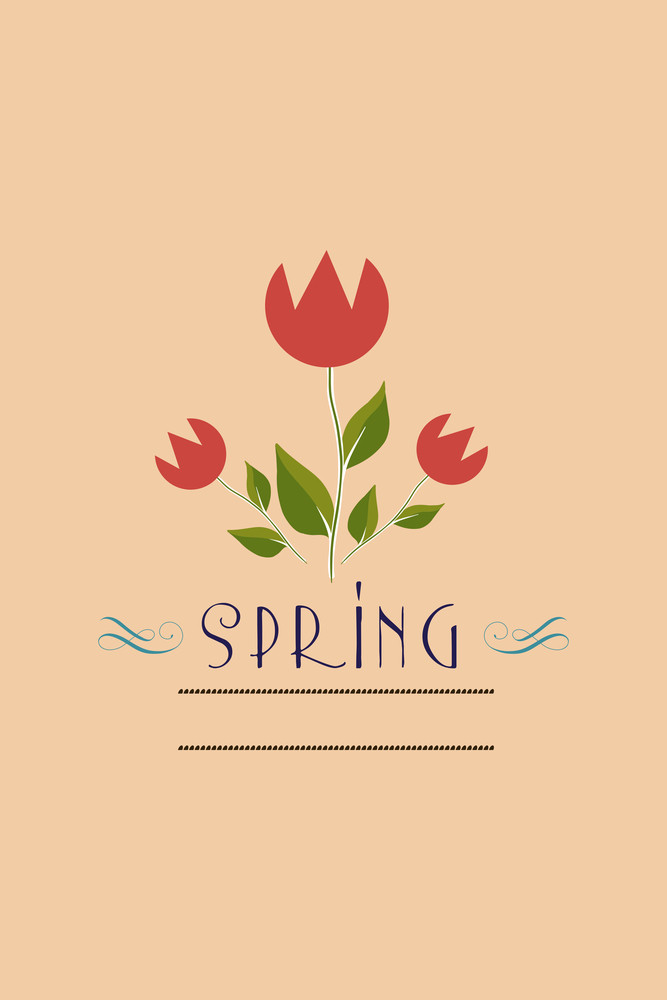 Vector Illustration With Flower  And  (editable Text)